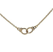 Minifamily® Fashioon Metal Hand cuffs Pendant Necklace Golden Come With Free Unique Ring and Rubber Wrist Band