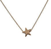Minifamily® Vintage Golden Star Shape Tiny Pendant Necklace(1 Pc) + Free Unique Ring and Rubber Wrist Band