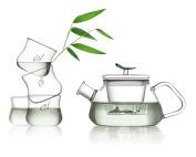 TEA SOUL Glass Tea Set with Teapot and 4 Tea Cups, Multicoloured