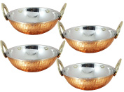 Avs Stores ® Set of 4, Indian Copper Serveware Karahi Vegetable Dinner Bowl with Solid Brass Handle for Indian Food, Diameter- 15 Cm