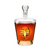 Balvi - Poison whiskey decanter. Liquor bottle of 1L (980mls) capacity. Has a skull inside. Made of glass.