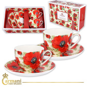 CARMANI - Fancy Tea cup and saucer set of 2 with 'poppy' 200 ml