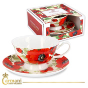 CARMANI - Fancy Tea cup and saucer with 'poppy' 200 ml