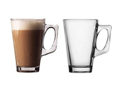 Glass Coffee / Latte / Cappuccino Cup/Mugs 240ml Café Latte Glass Mug Set of Two (2) for Tea or Coffee Drinking - Food Safe and Hygiene Friendly