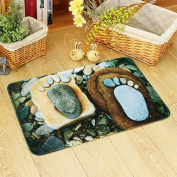 Non-slip and water absorbent cartoon door mat featured with 3D stone foot suitable for indoor and outdoor use , 40*60cm
