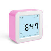 DreamSky Digital Alarm Clock With Timer, Time/Alarm/Timer /Temperature Display In 4 Angle , Light Activated Night Light -Battery Operated Travel Alarm Clock ,Simple To Set Clocks