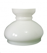 """Large White Glass Replacement 'Oil Lamp' Cowl. Width at base: 19cm dia. (7½""""), Height"""