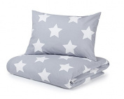 Cot Bed Duvet Cover and Pillowcase Set, Silver Grey with White Stars