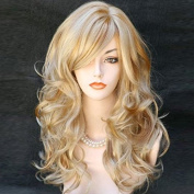 Kalyss Women's Long Curly Wavy High Quality Heat Resistant Golden Blonde Synthetic As Real Human Hair Wigs