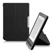 kwmobile Elegant flip synthetic leather case for Pocketbook Touch Lux 3 / Touch Lux 2 / Basic Lux / Basic 3 / Basic Touch 5.1cm black - practical magnetic clasp and stand function