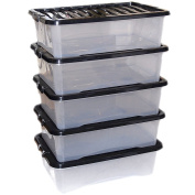 5 x 32 Litre High Grade Under Bed Plastic Storage boxes
