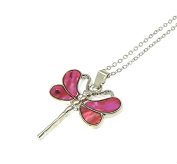 Beautiful Natural Abalone Inlaid Paua Shell Dragonfly Pendant On Silver Colour Necklace - Adjustable - In Gift Box