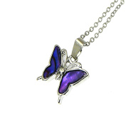 Beautiful Natural Abalone Paua Shell Butterfly Pendant On Silver Colour Necklace - Adjustable - Gift Box