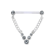 Silver & PTFE Nipple Chain - Jewelled V