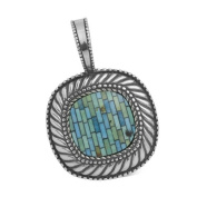 Carolyn Pollack Sterling Silver Blue Green Turquoise Treasure Inlay Pendant Enhancer