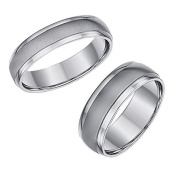 Titanium Matt & Polished Wedding Rings His & Hers 4 & 6mm