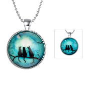 Cos2be Skull Haunted House Halloween Necklace Handmade Art Glow in the Dark Necklace