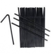 200 BLACK BENDY FLEXIBLE 19cm PLASTIC DRINKING STRAWS - INDIVIDUALLY WRAPPED