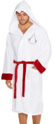 Official Mens Assassins Creed Luxury Fleece Robe Dressing Gown with Embroidered Logo, One Size Fits Most, White or Black