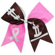The Ultimate Bow - Tackle Breast Cancer Football Glitter Cheer Bow Pony Tail