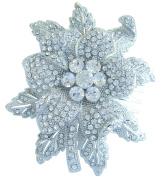 Sindary 7.5cm Romantic Wedding Flower Hair Comb Clear Austrian Crystal Bridal Headpiece HZ3608