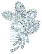Sindary Wedding Headpiece Classic 11cm Bridal Leaf Hair Comb Clear Austrian Crystal HZ4037C1