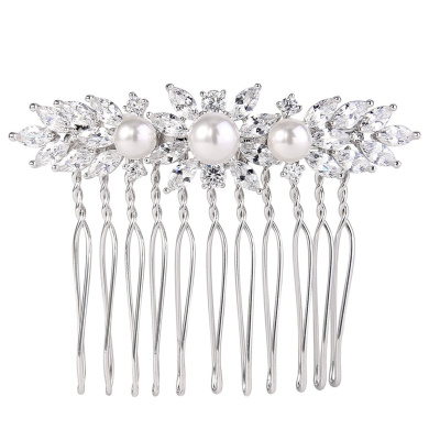 EVER FAITH Women's CZ Cream Simulated Pearl Marquise-Shaped Floral Leaf Hair Comb Clear Silver-Tone