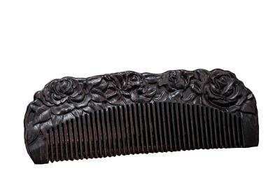 Icegrey Love of Rose Black Sandalwood Handmade Hair Comb