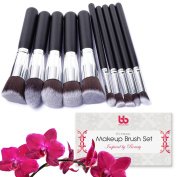 Professional Makeup Brushes, 10 Piece Set, Vegan, with Plastic Handles, Great for Applying Concealers, Foundations, & Powders, By Beauty Bon®