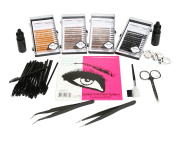 Eyebrow Eyelash Extensions Kit Blonde, Light Brown, Brown, and Black Mixed J Curl 0.10mm Length 6mm 8mm 10mm 12mm In One Tray