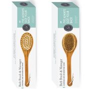 NEW Body Brush & Back Scrubber with FREE Hook + Body Cream + Cotton Cover - Long Handle - Excellent for Skin Exfoliating & Cellulite - Natural Bristles Shower - Use Wet / Dry, Men / Women