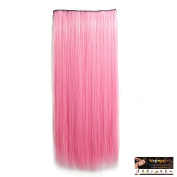 Stepupgirl 60cm Straight Full Head Synthetic Clip in Hair Extension with Souvenir Card