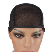 Wig Mall Wig Cap with Adjustable Straps Ultra Stretchy Nets Black Medium