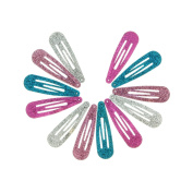 24 Pack Bright Glitter Snap Clips .
