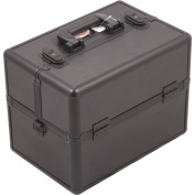 SUNRISE Makeup Artist Train Case C3000, Two 3 Tier Trays, Locking with Brush Holder and Shoulder Strap, Black Stripe