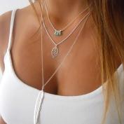 Doinshop Women Multilayer Irregular Pendant Chain Statement Necklace