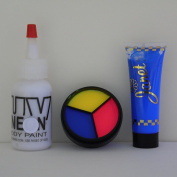 Sinister Harlequin Make Up Set for Halloween w/ UV Neon 3 Colour Cream Palette, Body Paint, & Hair Gel, Black Light, Rave, Party