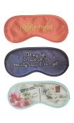 Diny Home & Style Set of 3 Poly Satin Printed Sleep Eye Mask Travel