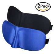 CoolingTech Sleep Mask 3D Light Blocking Eye Mask for Sleeping Night Blinder Eyeshade Sleeping Mask for Men Women Kids 2 Pack