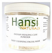 Hansi Naturals Indian Healing Clay Deep Pore Cleansing, Pure Bentonite Clay, Acne Mask to suck oils from skin.