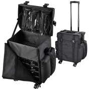 """AW Black Soft-sided Rolling Makeup Case 17x 14"""" x 60cm Oxford Cosmetic Train Bag Travel Show Party"""