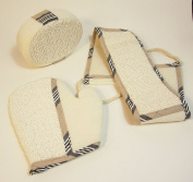 Native Spring Loofah Back Body Scrubber Glove and Pouffe 3-piece Exfoliator Spa Bath Set Beige and Cream