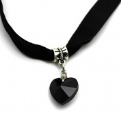 Top McKinley Lady Girls Velvet Choker Necklace Retro Love Heart Crystal Pendant