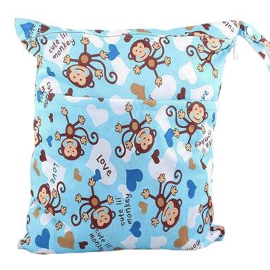 Waterproof Double Zipper Wet Dry Reusable Nappy Bag (Blue Monkeys)