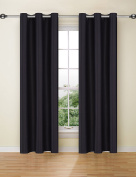 Ifblue Best Room Darkening Thermal Insulated Grommet Window Curtains -Blackout Curtains Drapes for Bedroom, Living Room, Kids Room-2 Panels 110cm X 160cm each, Black