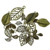Honbay 18pcs Vintage Bronze Tree Leaf Theme Tone Alloy Charms Finding, Mixed 6 Styles, DIY Jewellery Making Findings For Bracelet Necklace