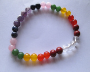 WholesaleGemShop 7-Chakra Bracelet-6 mm Bead with Velvet Pouch