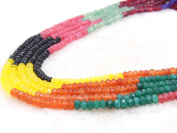 COIRIS 4MM Faceted Dyed Assorted Abacus Stone Gem Round Loose Stone Beads for Jewellery Making & DIY & Design