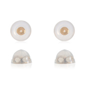 Universal EZback Earring Backs Soft Clear Silicone and 14k Yellow Gold Small 2 Pairs