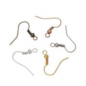 Ear Wire Hooks, 250 Pc Earring Findings, 50 of Each Colour for DIY Jewellery Making